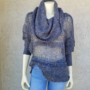 Kensie Sheer Gray Acrylic Cowl Neck Sweater